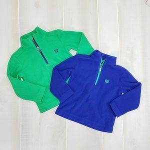 Chaps Boys 2T Fleece Pullover Bundle Blue Green